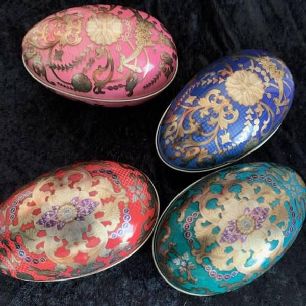Metall egg 115 g gull og rødt